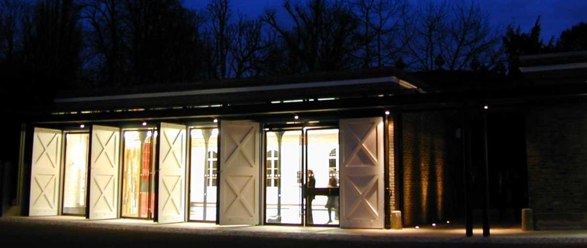 The Coach House Education Centre, Orleans House Gallery, at night. Photo Patel Taylor Architectural Practice