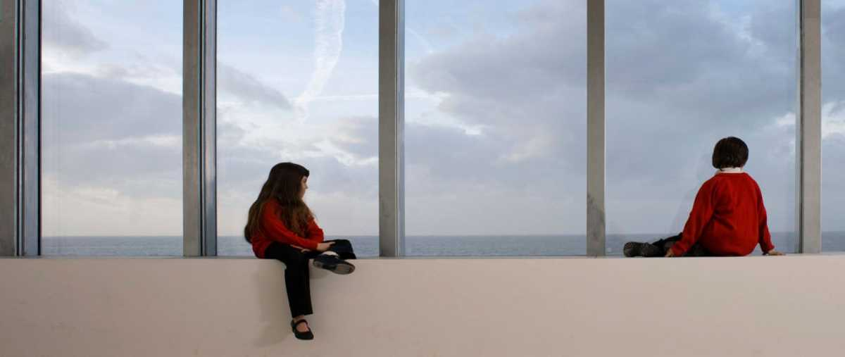 School children admire the view from the Clore Studio at Turner Contemporary, Margate. Photo Ady Kerry
